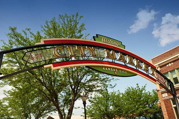 Market sign in Kansas City, Missouri stock photo