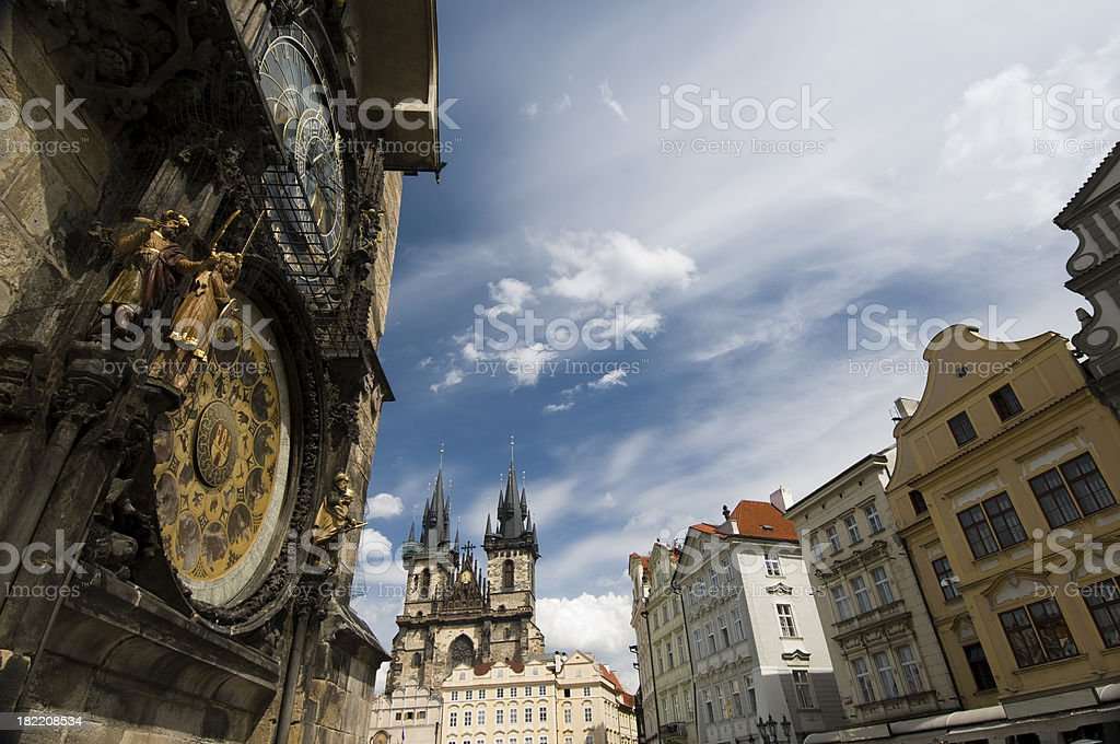 Market Square, Astronomical Clock, Prague royalty-free stock photo