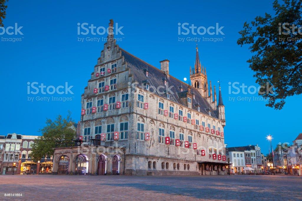 Market square, Gouda stock photo