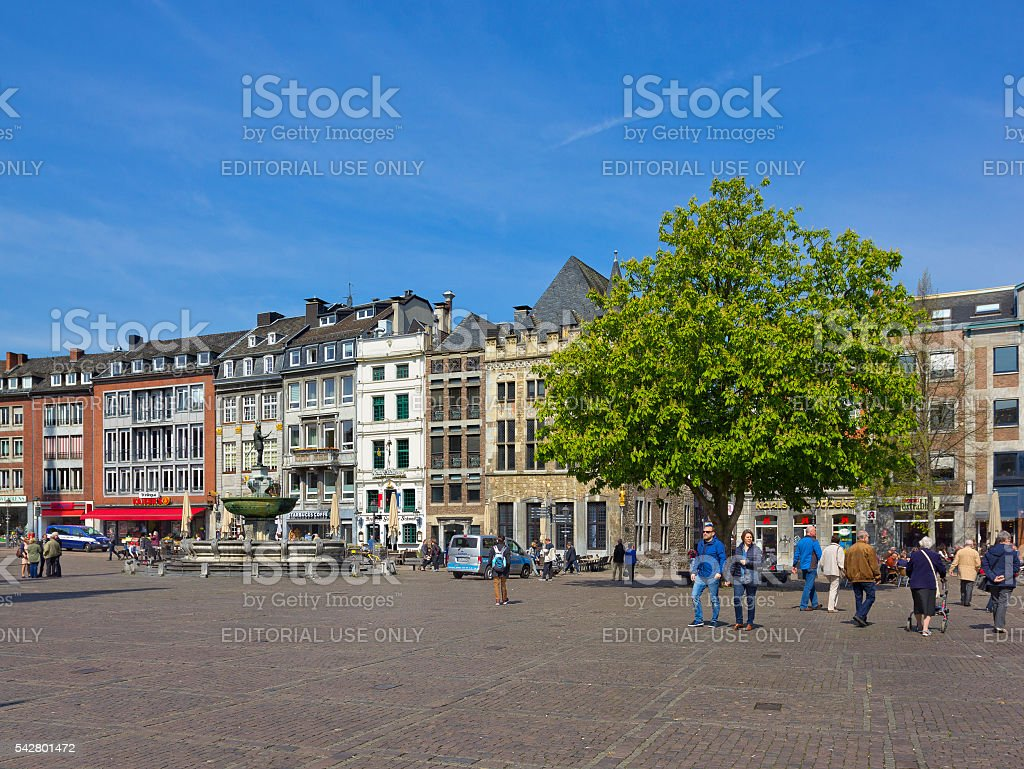 Market square (Marktplatz) in Aachen, Germany stock photo
