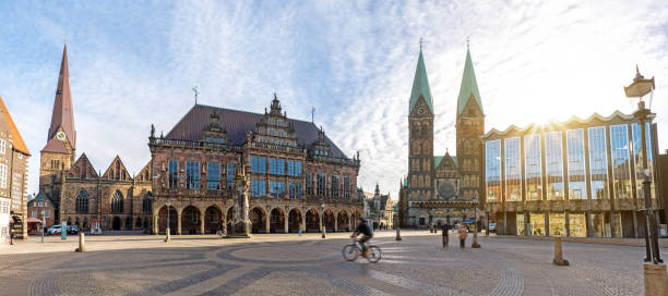 market square in Bremen with Cathedral and town hall stock photo