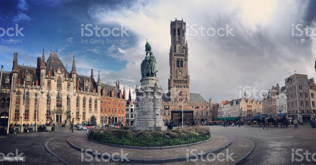Market Square in Bruges, Belgium stock photo