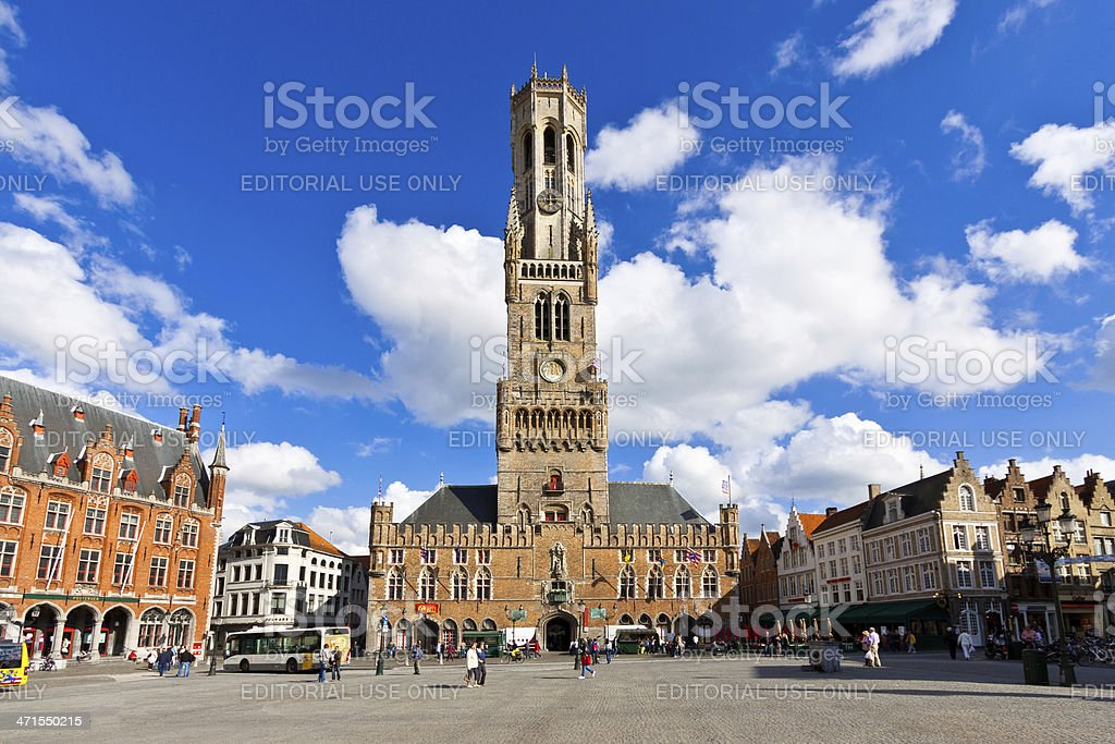 Market Square in Bruges. stock photo