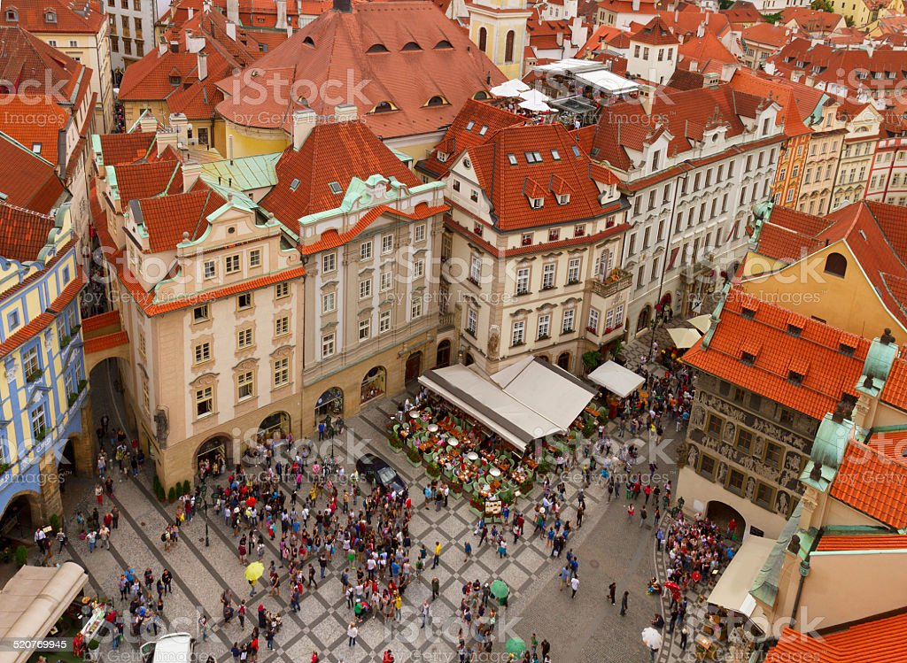 market square  in old town of Prague stock photo