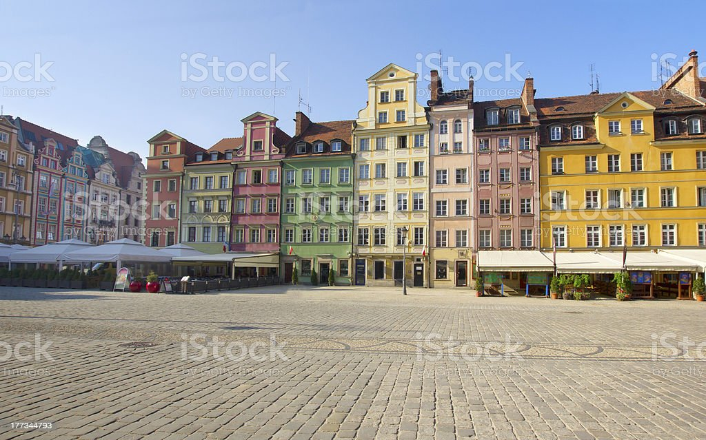 market square in old town of Wroclaw stock photo
