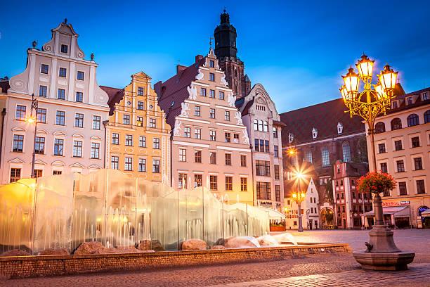 Market Square landmark at sunrise. Wroclaw, Poland. stock photo