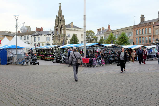 Market Square, Mansfield, Nottinghamshire, UK. stock photo