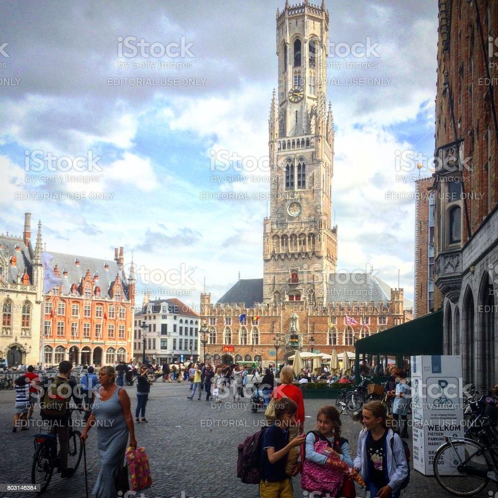 Market square of Brugge stock photo