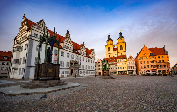 Market Square of Lutherstadt Wittenberg stock photo