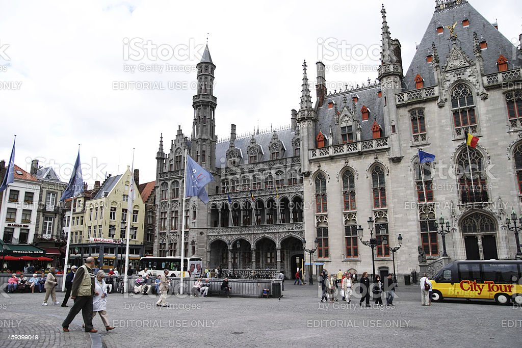 Market Square or Grote Markt in Bruges royalty-free stock photo
