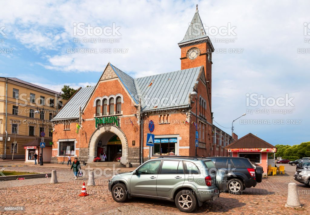 Market square with Market building, built in 1906 in Vyborg, Russia stock photo