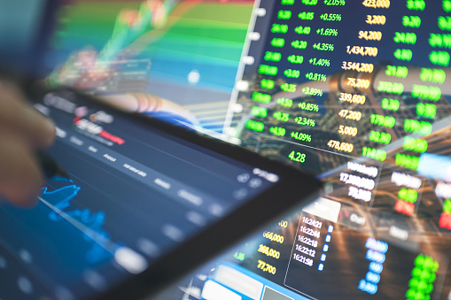 Market stage green screen all stock cryptocurrencies are turning to bull market stage Asian trader using Online cryptocurrency business trading concept bitcoin in new business world investment by online platform