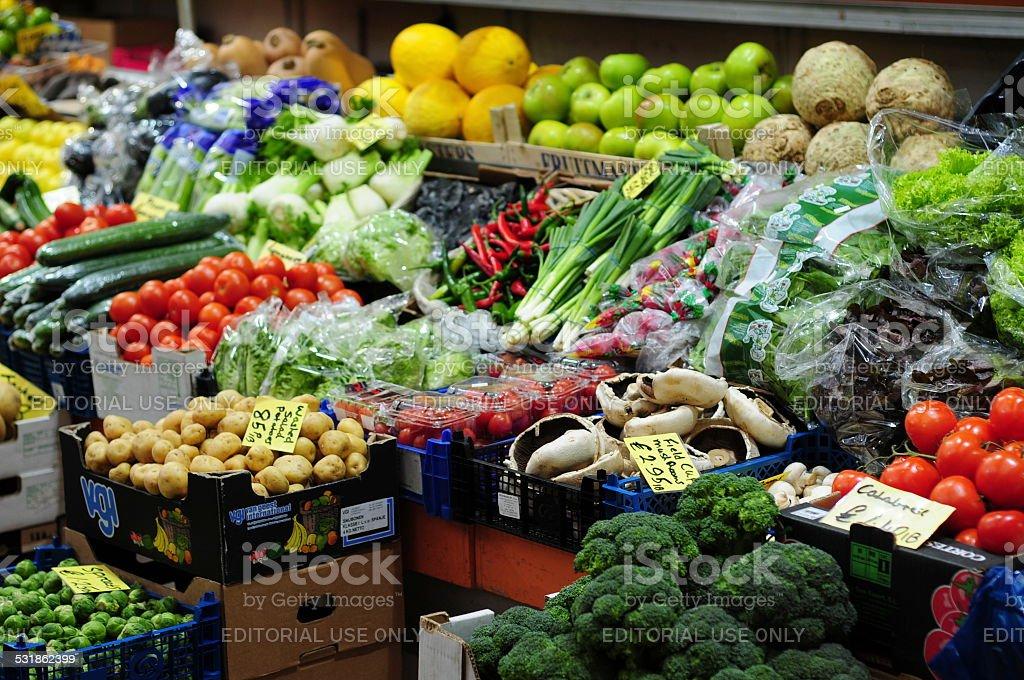 Market stall, Jersey, U.K. stock photo
