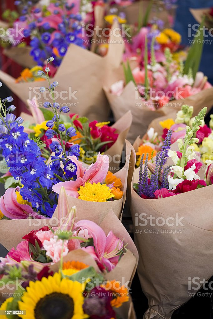 Market stall selling fresh flowers royalty-free stock photo