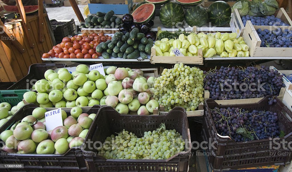 Market Stall selling Fruit and Vegetables. royalty-free stock photo