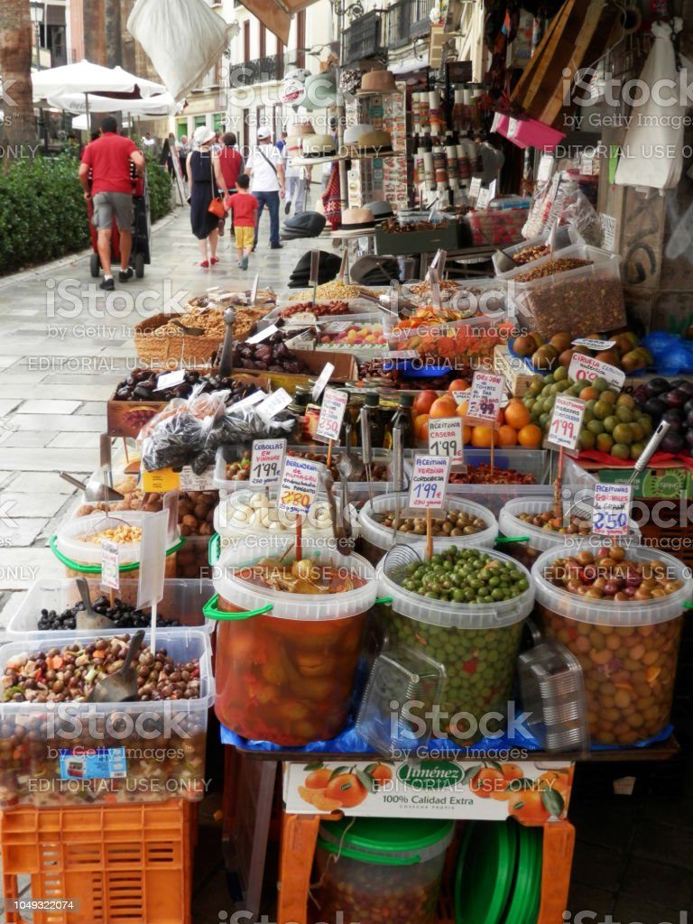 Market stall selling local products in Arab quarter stock photo
