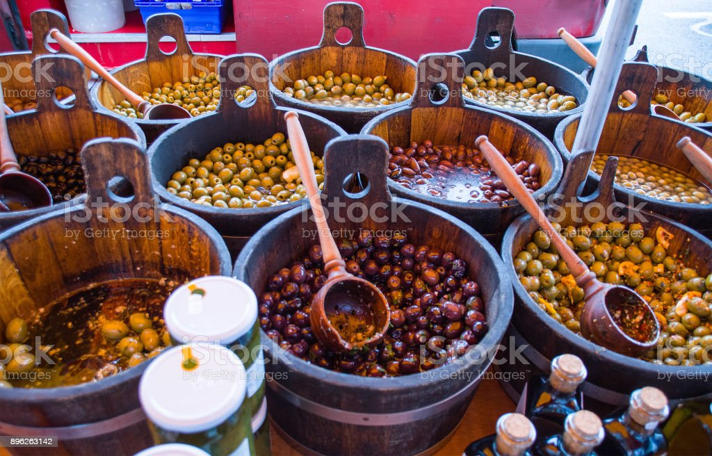 Market Stall selling olives. stock photo