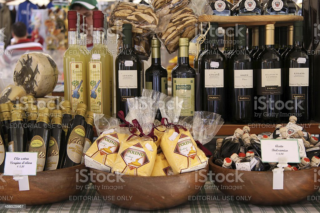 Market stall with delicacies in Verona royalty-free stock photo