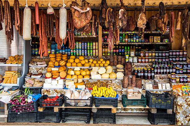 Market stall with fresh produce in Transfagarasan, Romania stock photo