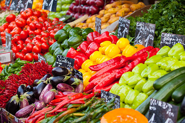 Market stall with fresh vegetables in Austria stock photo