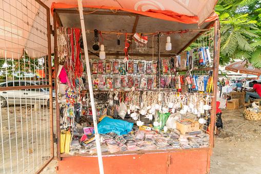 Market stall with souvenirs,  Zanzibar,  Tanzania