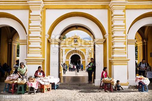 Antigua, Guatamala - 23 March 2018: Market stalls in front of El Calvario entrance to the church