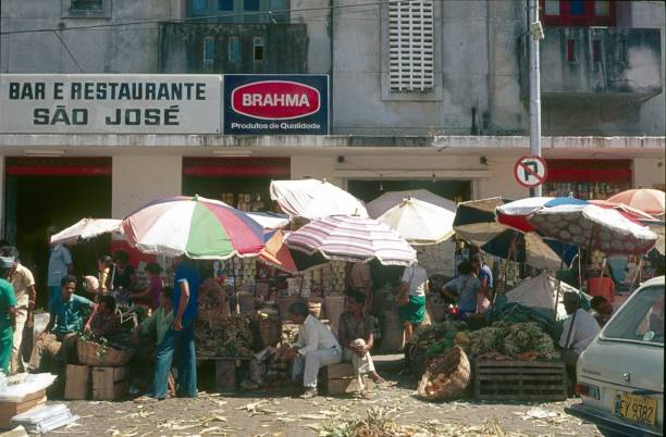 Market stalls in Recife, Brazil stock photo