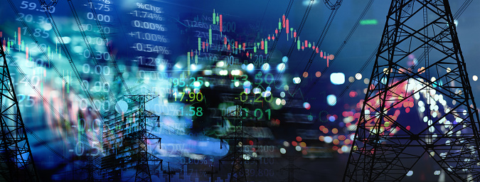 market stock graph and index information with city light and electricity and energy facility banner industry and business background