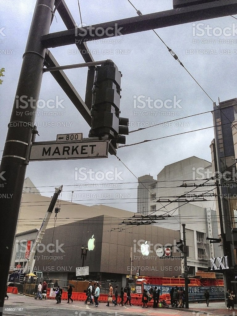 Market Street and Apple Store in San Francisco stock photo