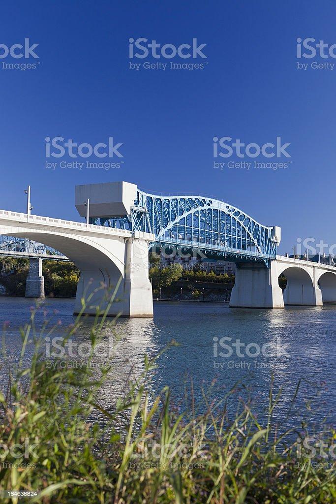 Market Street Bridge In Chattanooga, Tennesee, USA stock photo