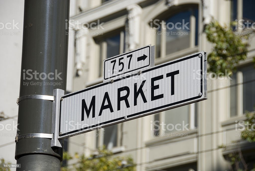 Market street road sign royalty-free stock photo