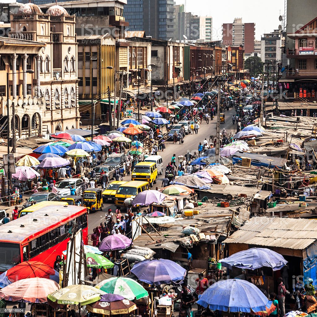 Market streets. Lagos, Nigeria. stock photo