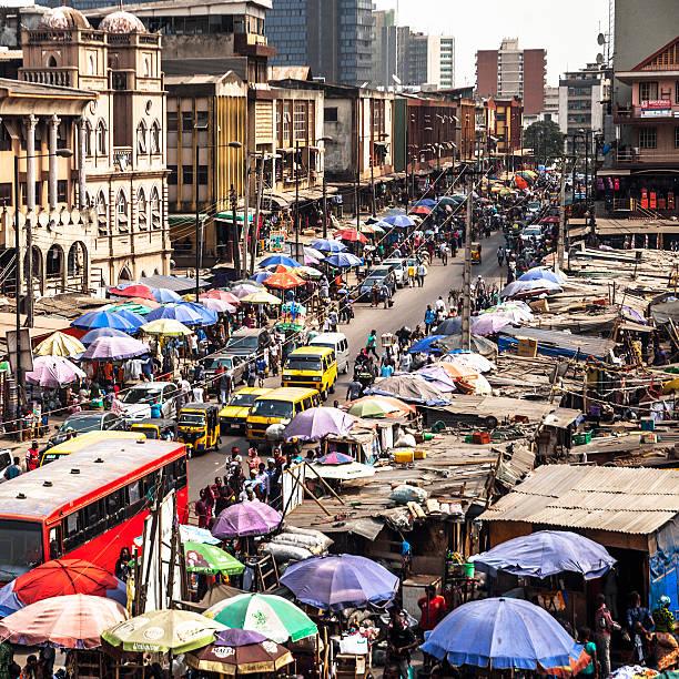 Market streets. Lagos, Nigeria. stock photo