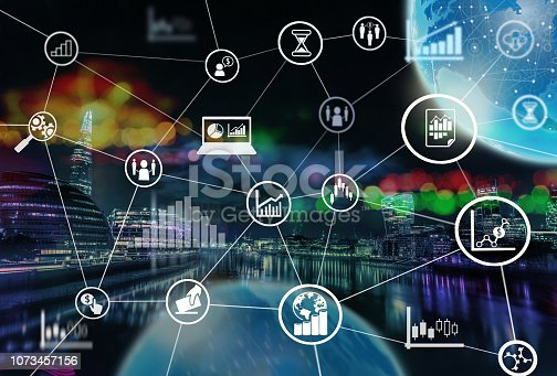 An Illustrated Graphic Photograph of the City Of London With Stock Market Data and Computer Technology Icons and Graphics.