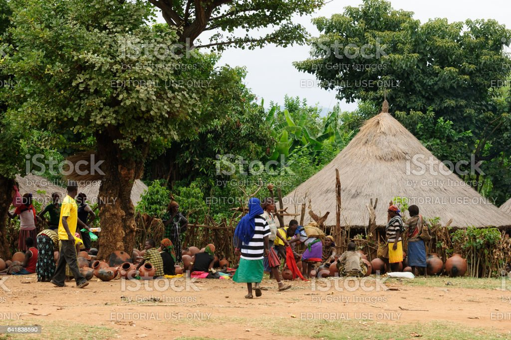 Market trader in the Jinka town in the Omo valley in Ethiopia stock photo