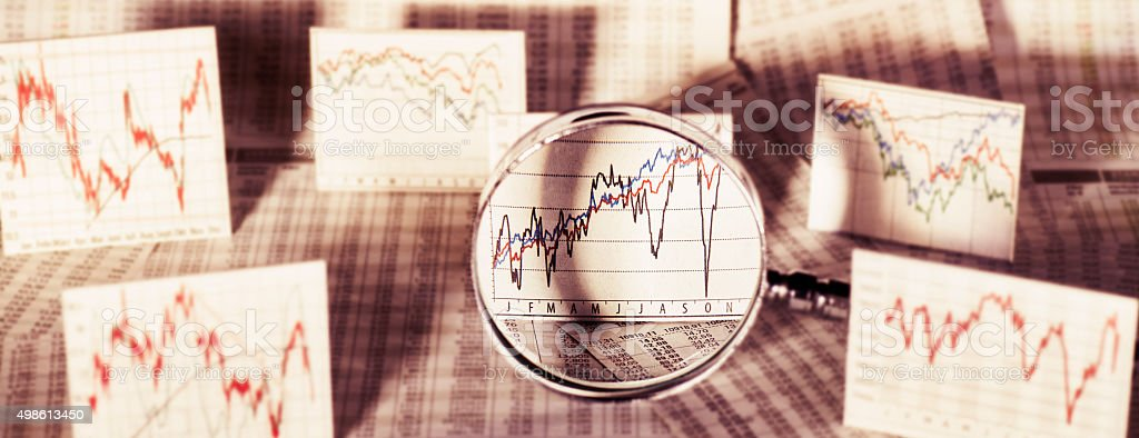 Market trend on the stock exchange stock photo