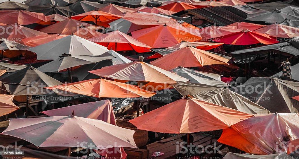 Market under umbrellas stock photo