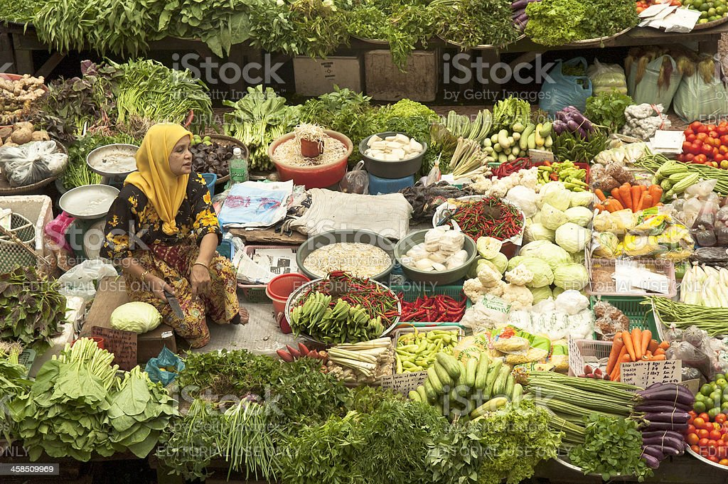 Market Vendor In Kota Bharu royalty-free stock photo