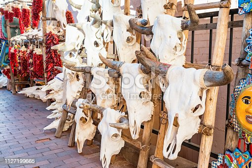 Stock photograph of cattle skulls on display in a market in downtown Santa Fe New Mexico USA.