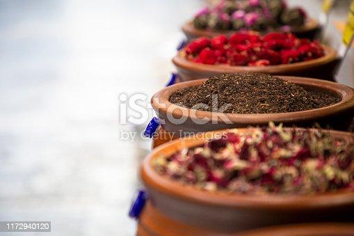 Market with different types of natural organic tea. Oriental bazaar