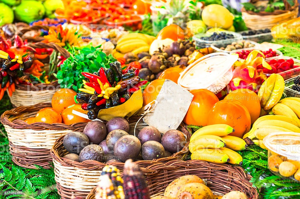 market with variety of tropical fruits, Rome stock photo