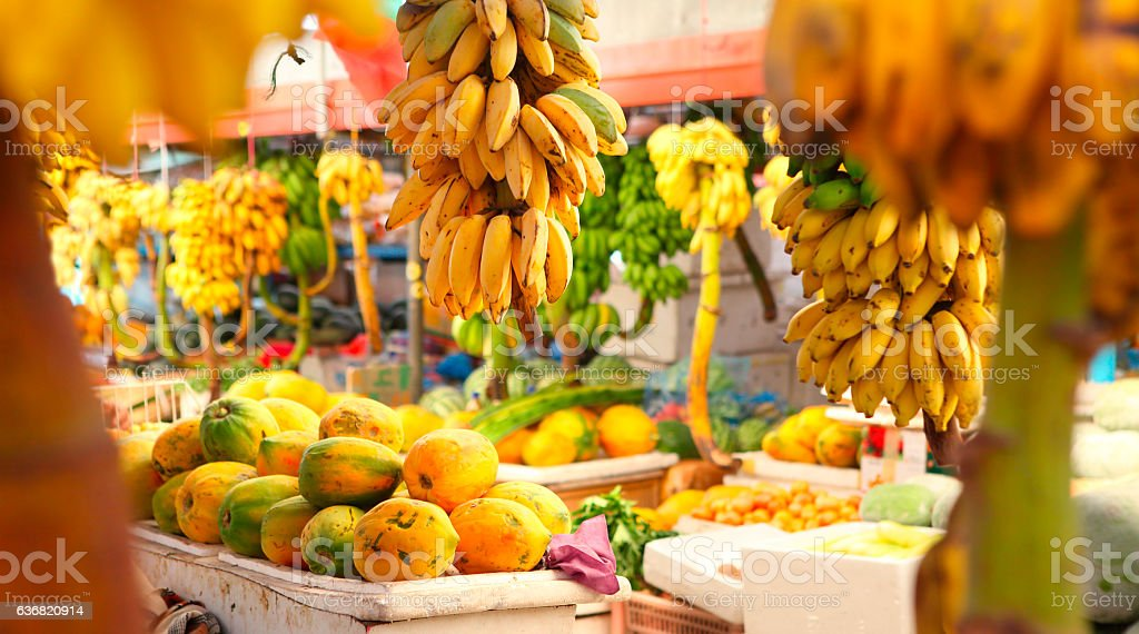 Market with various fruits in Male at Maldives stock photo