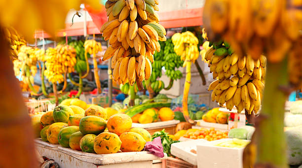 Market with various fruits in Male at Maldives - Photo