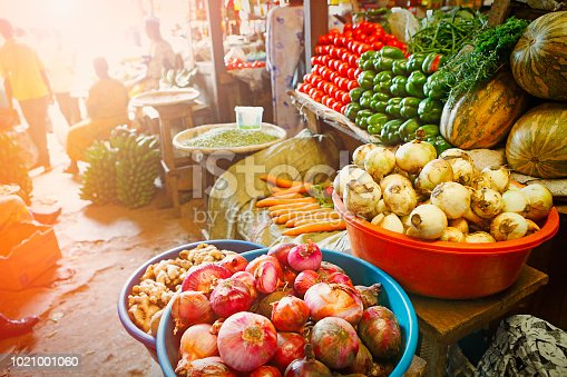 Street market with various types of vegetable in Kigali