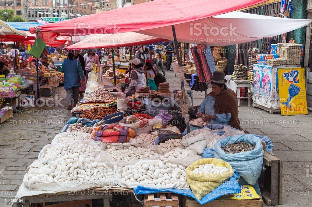 Market woman selling vegetable in La Paz, Bolivia stock photo