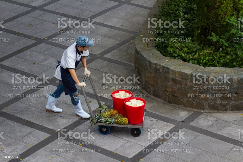 Market worker in Asia pushing a cart of produce. stock photo