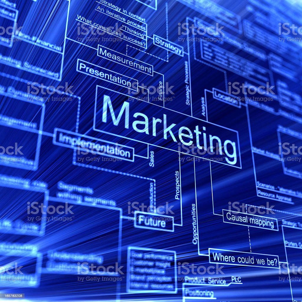 Marketing 3d flowchart on a blue backgroud royalty-free stock photo