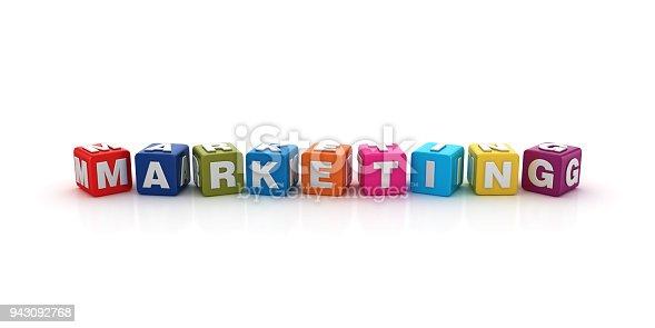 istock Marketing Buzzword Cubes - 3D Rendering 943092768