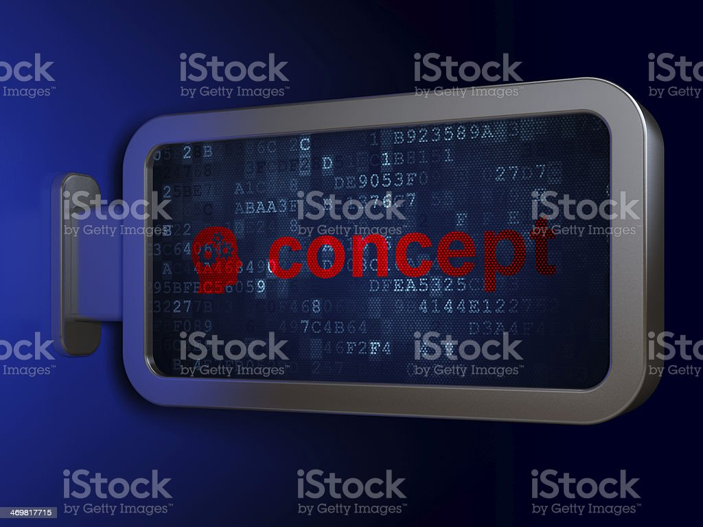 Marketing concept: Concept and Head With Gears on billboard background royalty-free stock photo