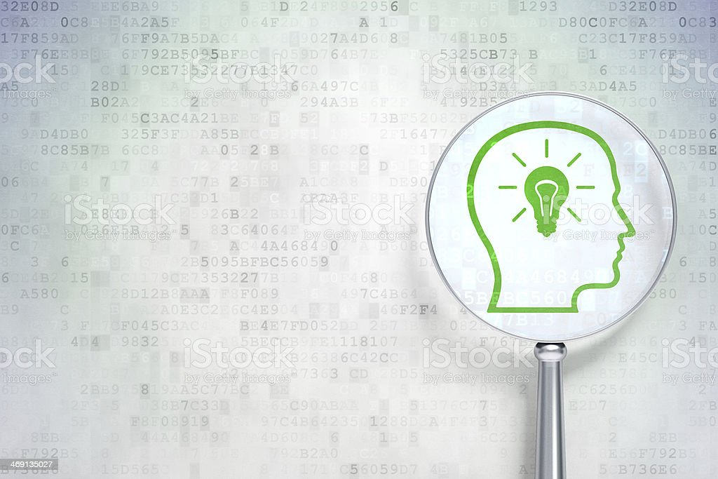 Marketing concept:  Head With Lightbulb optical glass on digital background stock photo
